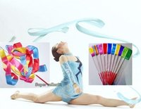Wholesale 9 Color Dance rhythmic gymnastics ribbon Crossfit Gym Art Ballet Streamer Twirling Rod Hot