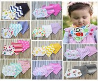 Wholesale 3pcs set Super Cotton Bandana Baby Bibs Infant Babador Drool Bib Blue Navy Chevron Stripes Purple Denim Solid Scarf Bib