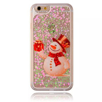 best christmas glitter - Best Christmas Moving loving heart Liquid Glitter cases Quicksand Bling Xmas snowman case Flowers Shining Cover For Iphone s Plus s