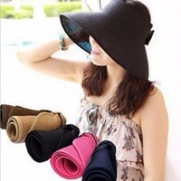 folding straw hat - Summer New Fashion Bowknot Sun Visor Hat Women Large Brimmed Hat Ladies Straw Hats Folding Sun Cap