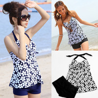bathing shorts - Sexy Women Tankini Set Swimwear Flower Print Halter Neck Push up Bathing Suit Shorts Set Maillot de Bain Femme XXXL Plus Size GS015