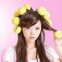 sponge hair curler ball - 1 Set DIY Soft Sponge Hair Care Curler Roller Balls Yellow Makeup styling tools W291