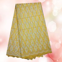 Wholesale Reasonable price gray yellow African embroidery cotton lace fabric for dress ZC5 Fashion Swiss voile lace fabric