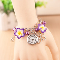 Wholesale 2015 Fashion Lady Girl Watch Gold Pearl Robbon Charm Watch Flower Bracelet Ribbon Watch Bracelet DHL
