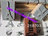 best rubber stamps - Best Price Ever SCRAPBOOKING Eiffel Tower Italy Europe Paris New York Vintage Wooden Rubber Stamp Set