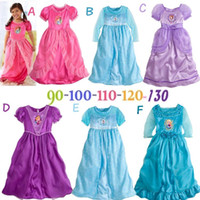 Wholesale Kids Girls Clothes Dress Frozen Girls Dresses All Princess Deluxe Nightgown Silky Fancy Cosplay Costume Tulle Long Sleeves Dress Up G
