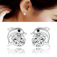 Wholesale fashion dolphin stud earings for women sterling silver crystal bling earing in jewelry