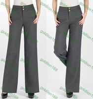 Cheap New Arrival Spring and Autumn Fashion Women Casual High Waist Flare Wide Leg Long Pants Palazzo Trousers Plus Size