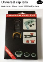 Wholesale 3 in Universal Clip Lens Wide angle Lens Macro Lens Fish Eye Lens For iPhone Samsung S6 suit for all cellphones and Tablet PC