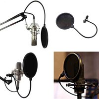 filter pop - High Quality Studio Microphone Mic Pop Filter Wind Screen Mask Shied Dual Layer Gooseneck Flexible for Recording Speaking Singing