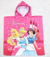 bath towels lot white - 5pcs princess Snow White bath towel kids Hoodeed Towel Children Cinderella Tangled Beach Towel baby Girls Cloak bathrobe