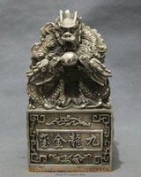Wholesale New Chinese Silver Dynasty Palace FengShui Wealth Dragon Statue Seal Stamp Signet