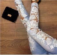 Wholesale Sexy Women s Denim Light Blue Skinny Jeans Crochet Lace Party Pants With Chain boyfriend jeans for women new arrive
