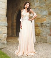 beaded shrugs - Chiffon Peach One Shoulder Prom Dresses Indian Party Evening Gowns with Shrug Embroidery Rhinestones Beaded Long Special Occasion Wear
