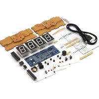 Wholesale 4 digit DIY Digital LED Clock Kit Light Control Temperature Display Transparent Case Green Blue Red White