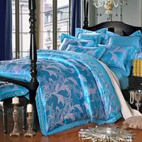 achat en gros de feuilles queen size plat-Blue Luxe Jacquard 4-Piece Literie Ensembles Queen Size Imitated Soie Coton Duvet Cover Set feuille plate Drop Shipping