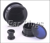 acrylic center - Box Plugs black acrylic thread hollow center stash ear plug gauges ear tunnel expander mm bag ASP0493