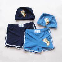 Cheap 2015 New Swim Trunks Baby Boys 2 Color Cartoon Swim Trunks Kids Summer Beach Swim Trunks Children Surf Clothes Send Hat DG-Y72