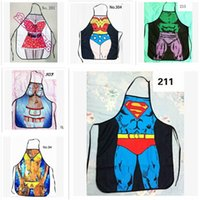 Wholesale 65 styles giant apron superman Hero Anime Cartoon Character Series Kitchen Apron Funny Personality Cooking Apron Gift R0741