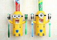 Wholesale hot selling Despicable Me Cute Minions Design Set Cartoon small yellow people Toothbrush Holder Automatic Toothpaste Dispenser Brush Cup