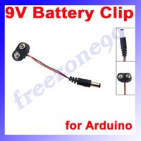 Wholesale 100pcs X mm Male Dc Plug to V Battery Clip Snap Accessories For Arduino FZ0498