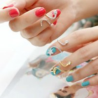 Wholesale 1PC Golden Sliver Top Above Knuckle Five Stars Twisted Band Midi Finger Nail Rings