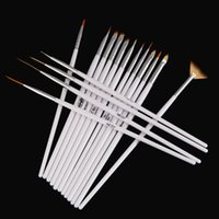 badger art - 16pcs White Nail Brush Brushes Set Nail polish gel art Paint Design Pen Tools Makeup brushes for manicure