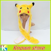 Cheap 5PCS Lot Top Fasion Character Adult Casual Cute Poke Hat with gloves Pikachu Plush Cosplay Cap long earflap for Free shipping