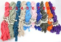 jewelled scarves - 6pcs jewelled pendant necklace alloy imitation pearl jewelry scarf with women original factory supply