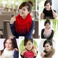 Wholesale 2015 New Style Fashion Women s Winter Warm Knitting Scarf Infinity Polyester Tassel Scarves Purl Scarf Muti colored Options