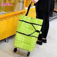shopping cart - Green Orange Foldable Shopping Trolley Folding Wheel Shopping Cart Handbag Luggage Tote Bag with Polka Dot