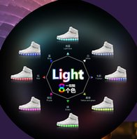 Wholesale 8 Colors New Simulation men Led Shoes for Adults Black Mens Led Sneakers USB Charging Light Shoes High Top Glowing Sneaker k1654