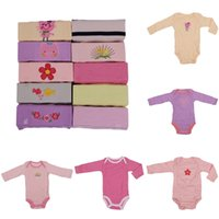 Wholesale 5PCS Baby One Piece Romper Newborn Baby Girls Jumpsuits Kids Climb Clothes Long Sleeve Jumpsuit Rompers Random Colors Full Size DRG