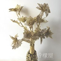 Wholesale Plating five small Christmas long sticks luxurious gold and silver mesh flower floral home decor European flower Artificial flow