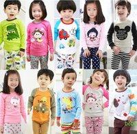 Cheap Baby Boy Baby Girls Pajamas Kids Pajamas Children Summer And Autumn Clothes New Cotton 2Piece Set