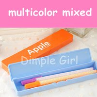 Cheap Wholesale-wholesale multicolor fashion cute japanese london style rectangular vintage plastic pencil case colored pen box holder for girl