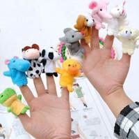 Wholesale 500pcs DHL EMS finger doll animal Puppets Kids Baby Cute Play Story time Velvet Plush Toys