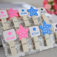 Wholesale 0107 Square star Candy color wooden clip home decoration Wedding decoration photo frame decoration mini wooden clips
