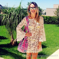 boho dress - Vintage Hollow Boho Dress People Bell Sleeves Sexy Lace Dress Party Cocktail Mini Dress Tops M L XL in stock