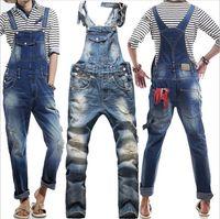 overalls for men - New True Jeans Men Original Denim Overalls European American Fashion Baggy Ripped Jeans For Men Hip Hop Pants Bib Trousers