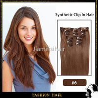 Wholesale Chea Synthetic Hair Extention quot g set Synthetic Straight Hair Light Brown Clip in Hair Extentions Synthetic Hair