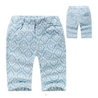 Wholesale Blue Pure Cotton Little Boys Casual Pants Summer Baby Kids Sports Pants Children Printing Pants High Quality AF459