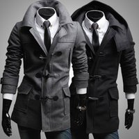 Wholesale 2016 men s winter coat new horn buckle cloth coat fashion men s long trench coat Black gray