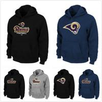 active mark - Best new football hoodies jerseys New Fleece Hoodies Rams Authentic Logo Pullover Hoodie Grey men Sport Sweatshirt Long Sleeve mark
