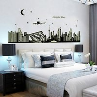 bathroom city - 1pcs Home Decoration City Night Scene D Glow PVC Large Wall Sticker Fluorescent Wallpaper House Art Decor Room Bedroom Decal Vinyl Stickers