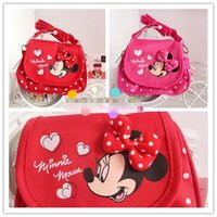 gift for children day - Girls Messenger Bag For Kids Birthady Gift Money Bags Children s Day Cartoon Purse Childs Girls Princess Canvas Dots Bow Minnie Bags K1931
