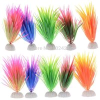 Wholesale 12Pcs New Plastic Aquarium Decorations Multicolor Artificial Plants Fish Tank Grass Flower Ornament Aquariums Accessories