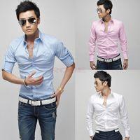 Wholesale Stylish Trendy Mens Shirts Casual Men s Slim Fit Shirt Autumn Winter Men Long Sleeve Turn down Collar Dress Shirts