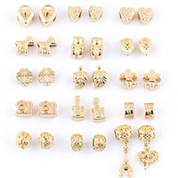 chamilia beads - Mix Alloy Big Hole Beads K Gold Plated Chamilia DIY Spacer Troll Chunky Czech Bead Charm Fit For Pandora Bracelet Charms