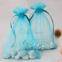 aqua gift bags - 100 Pieces Aqua Blue Turquoise quot x6 quot cm x cm Strong Sheer Organza Pouch Wedding Favor Jewelry Gift Candy Bag